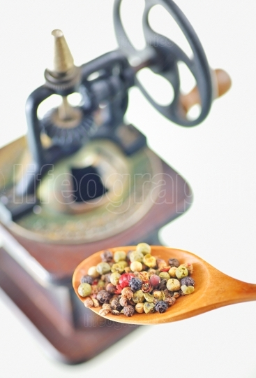 Pepper mill and spoon with different peper assorted