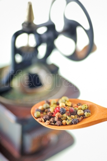 Pepper mill and spoon with mixed peper