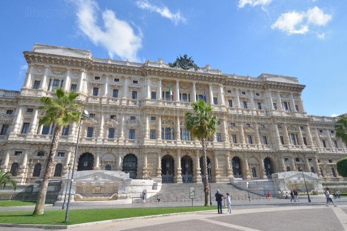 Piazza Cavour, Law Courts building in Rome, Italy