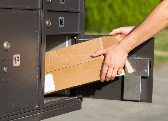 Picking up packages at the mailbox
