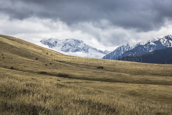 Picturesque landscape in tien shan mountains in kyrgyzstan.