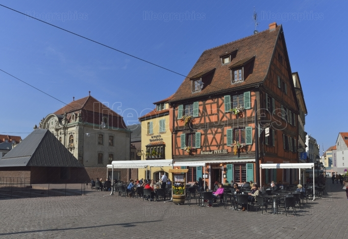Picturesque square in the Alsatian city of Colmar, France.
