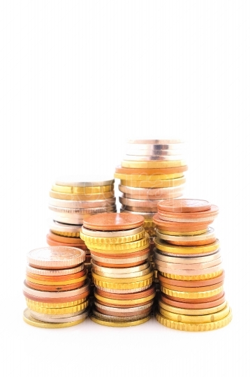Piled coins