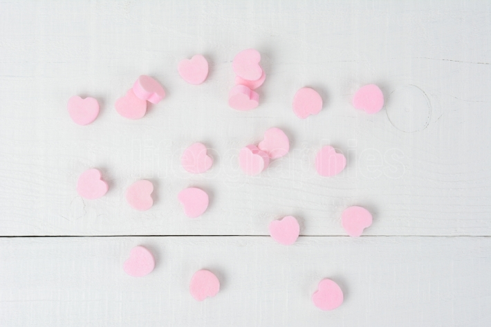 Pink Candy Hearts on White