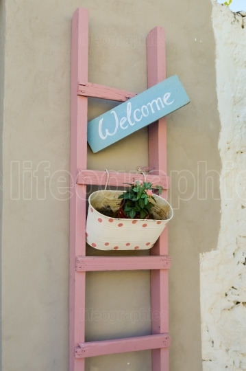 Pink ladder on a brown wall with a flower pot