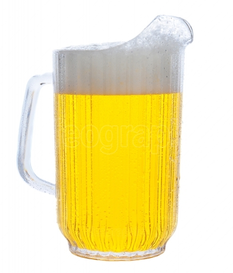 Pitcher of Beer on White