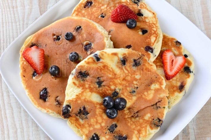 Plate of Bluberry Pancakes