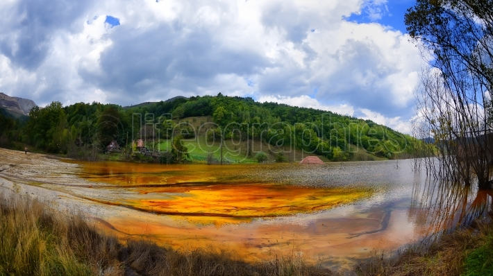 Polluted lake in geamana, alba county, romania