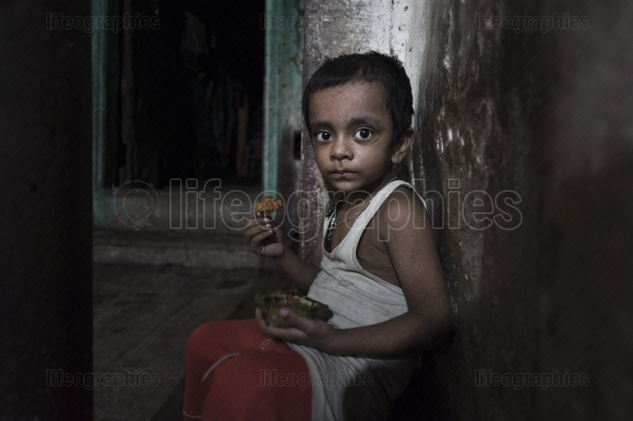 Poor children from old Godaulia city. Varanasi. India