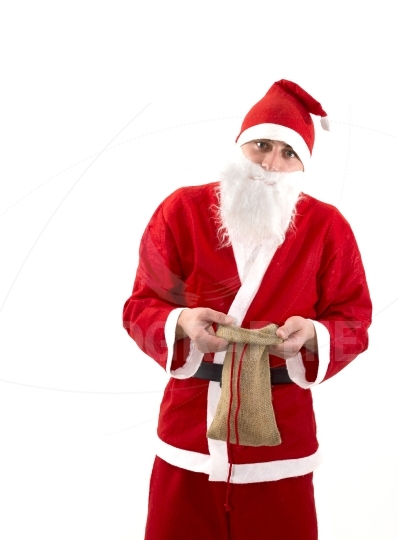 Poor Santa Claus with empty bag