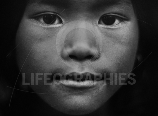 Portrait of a poor girl from cambodia (w&w version)
