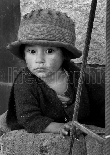 Portrait of a poor peruvian young girl. Peru