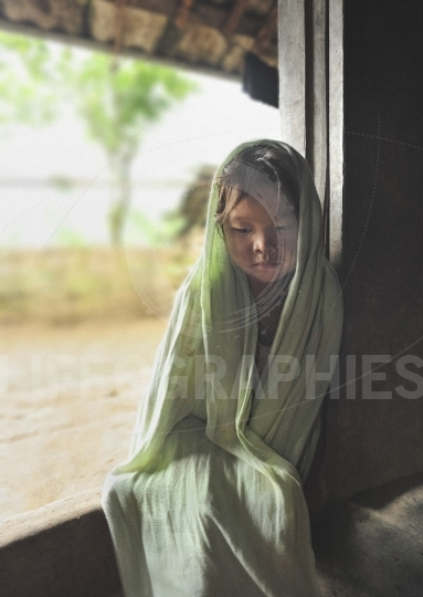 Portrait of a young hmong girl from sapa valley