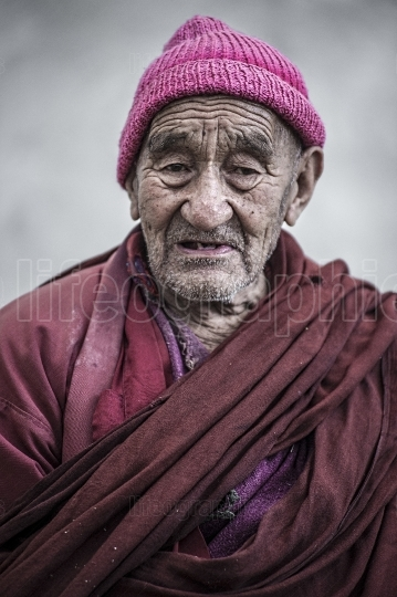 Portrait of an old monk.
