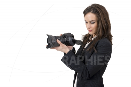 Portrait of young photographing lady