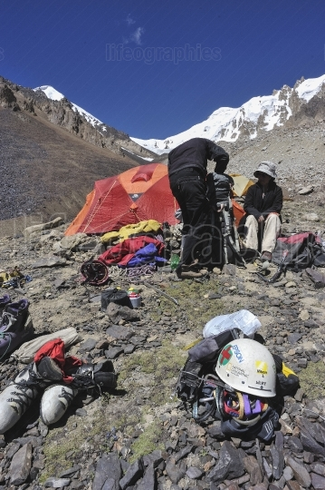 Preparations from Morena camp (camp 1) for climbing Chashkin Sar unclimbed peak(6.400m)