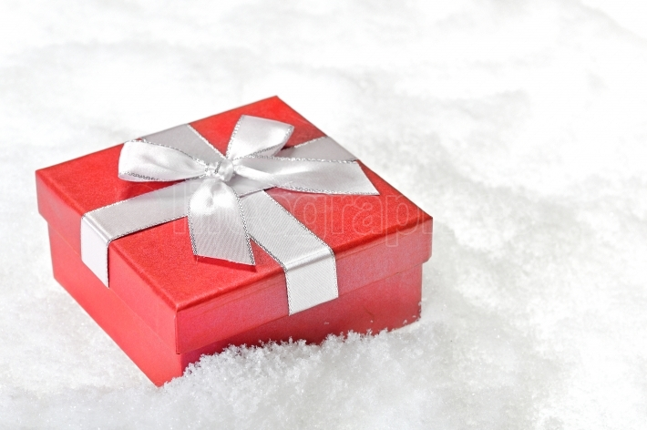 Present box red in snow