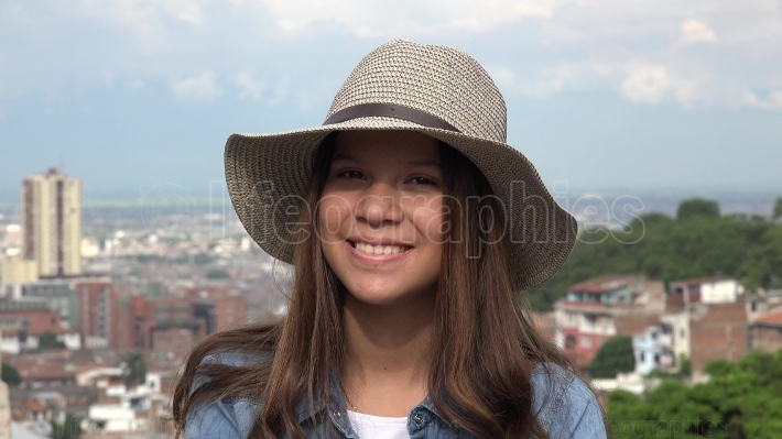 Pretty Face Teen Girl Smiling