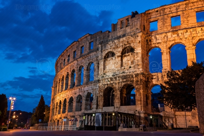 Pula amphitheatre during the morning blue hour