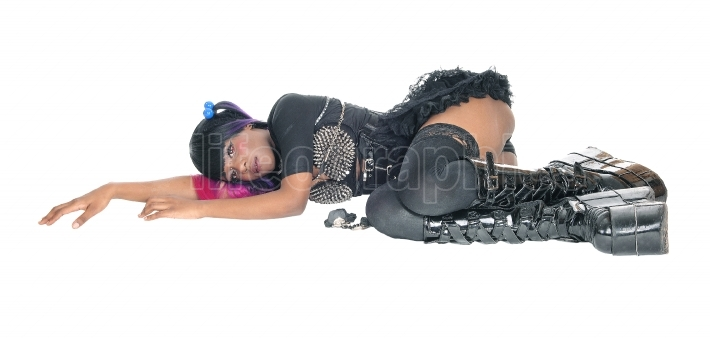 Punk lady lying on floor.