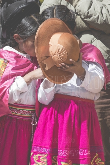 Puno, peru   august 20, 2016  native people from peruvian city d