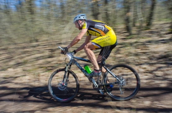 "Racer on the competition of the mountain bike ""XC"