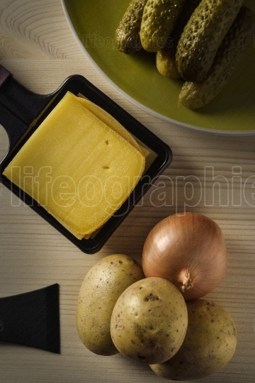 Raclette trays with chessee