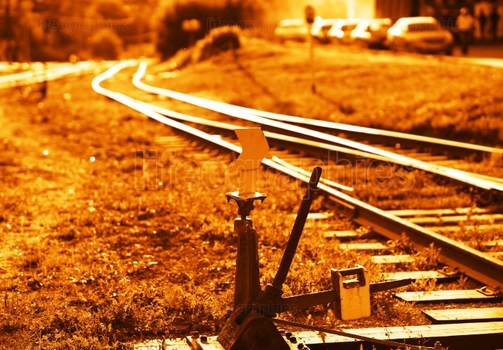 Railroad track switch background