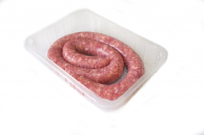 Raw botifarra or Catalan sausage on the package