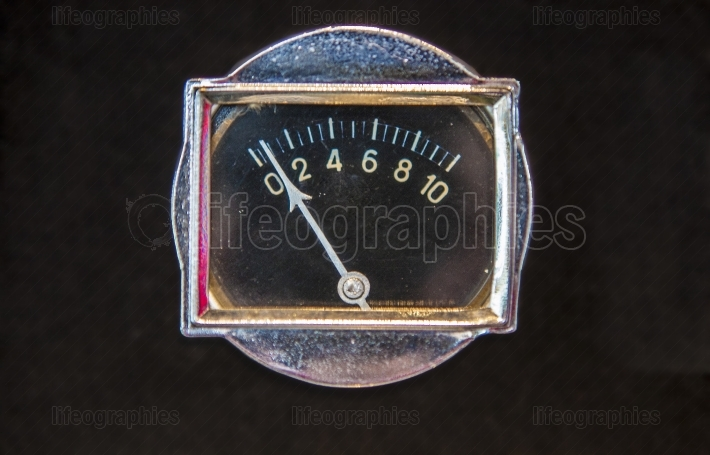 Rectangular old oil gauge  Isolated