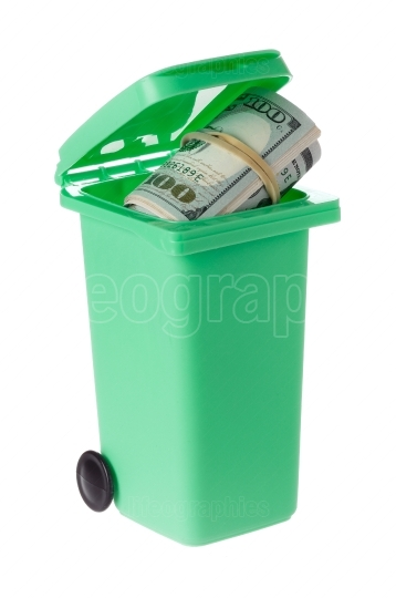 Recycling bin with banknotes