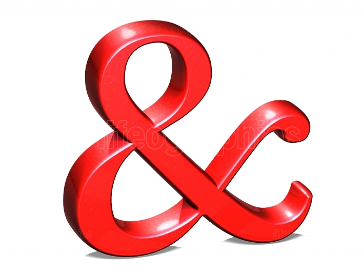 Red ampersand isolated on white background