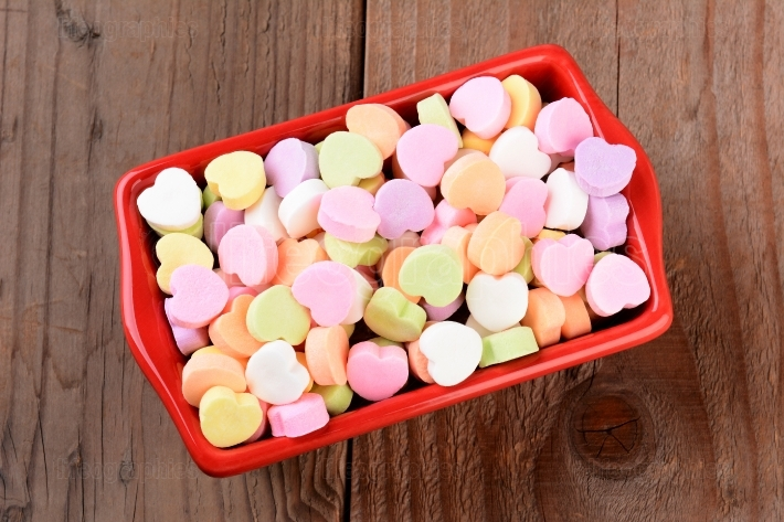 Red Bowl with Valentines Candies