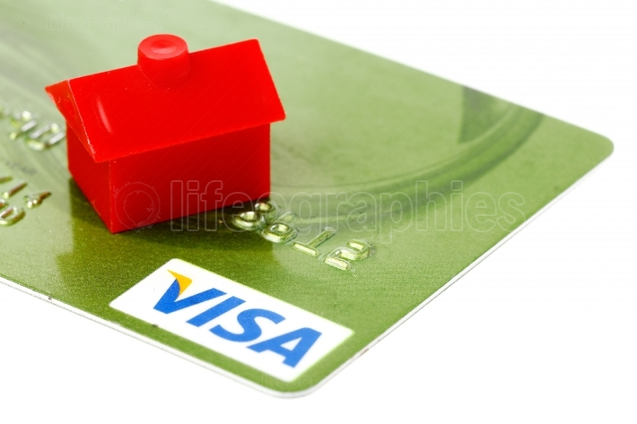Red building on credit card