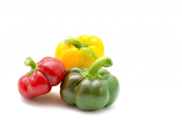 Red, green, and yellow sweet peppers