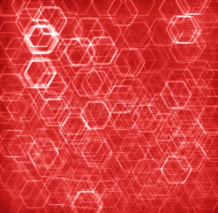 Red hexode cells abstract background
