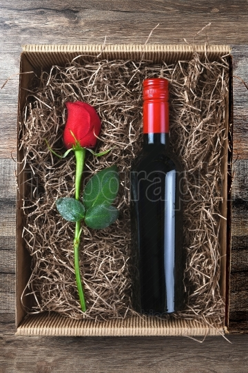 Red Rose Wine Bottle Box