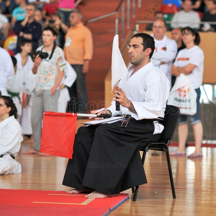 Referee evaluates competitors at the European Karate Championship Fudokan