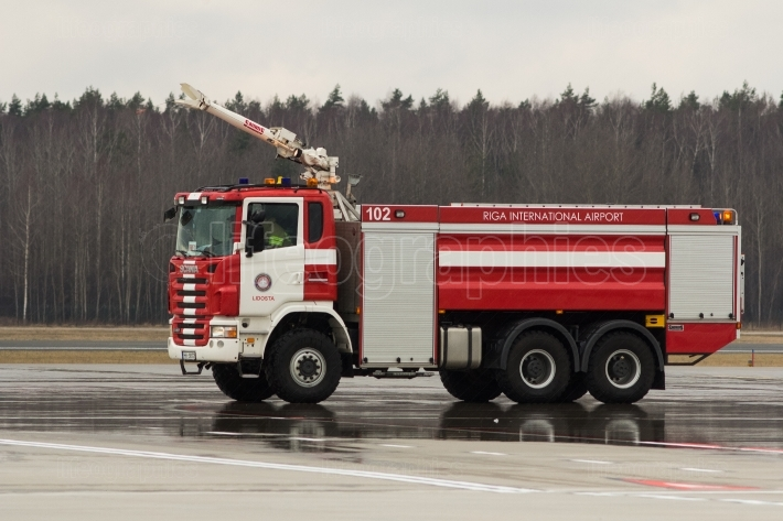RIGA, LATVIA - NOVEMBER 11 2017: Modern fire truck at the airport Fire Department in Riga International Airport