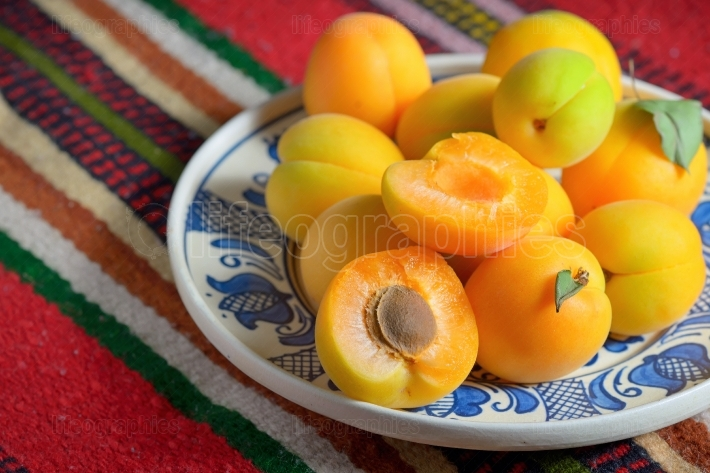 Ripe apricots fruits