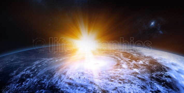 Rising Sun Behind the Planet the Beauty of Space Exploration Con