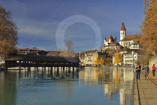 River aare and the old town of thun. switzerland