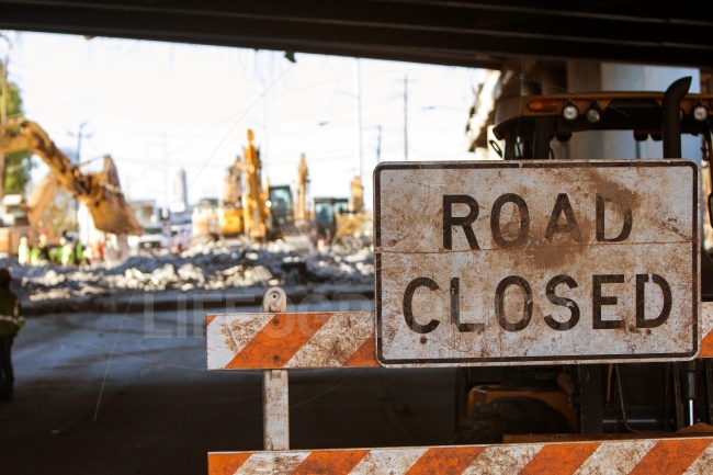 Road Closed Barricade Blocks Access To Major Interstate Construc