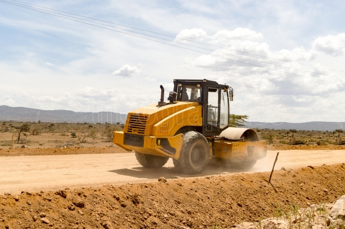 Road Roller Compactor on New Mombasa Road to Nairobi, North West