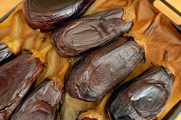 Roasted eggplants in oven tray