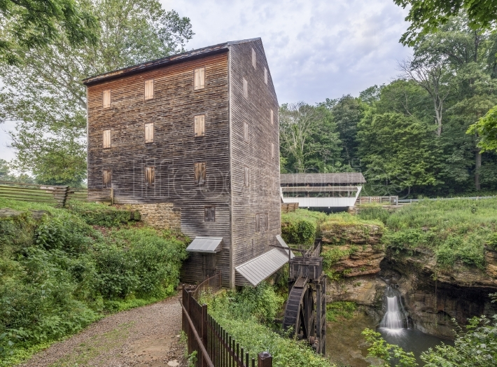 Rock Mill, Covered Bridge, and Hocking River Falls