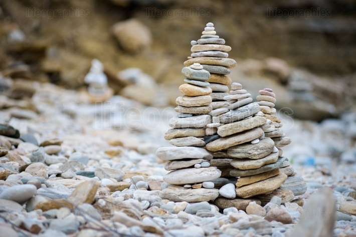 Rocks stacked on the Livadi beach on Thassos Island, Greece