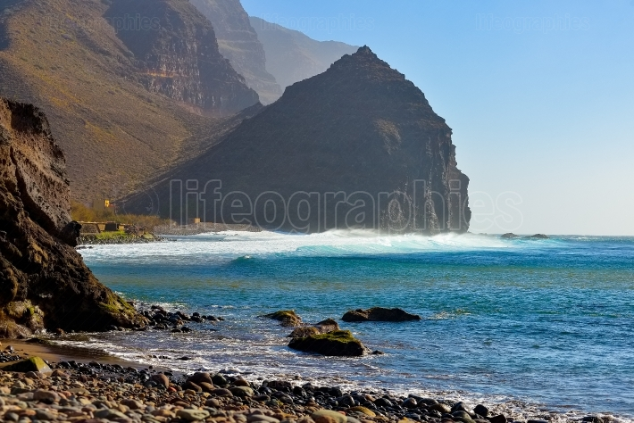 Rocky beach on the atlantic coast in the west part of Gran Canaria island