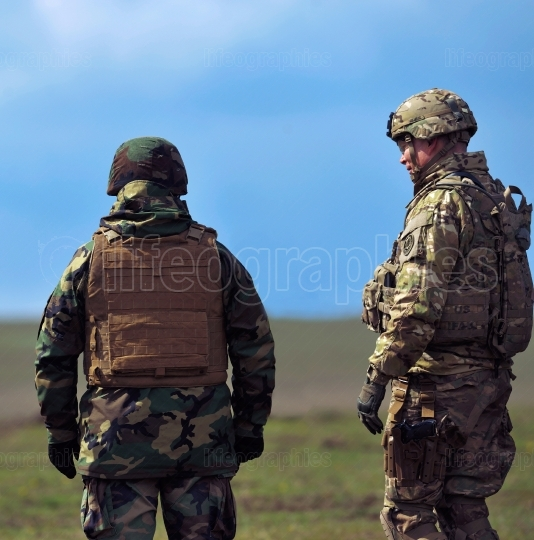 Romanian and US military in military polygon
