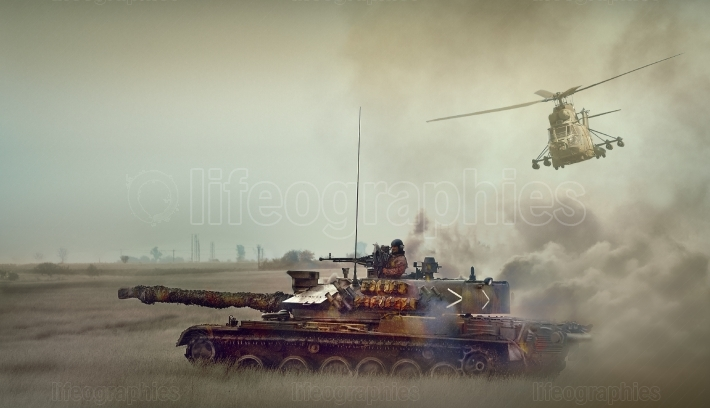 Romanian tank TR-85M1 and military helicoter IAR 330 Puma